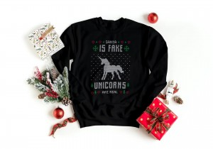 Bluza czarna - Christmas Sweater - Santa is fake unicorns are real