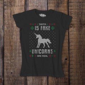 Koszulka damska czarna – Santa is fake unicorns are real