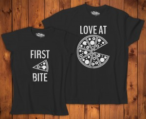 Komplet T-shirt dla par - First bite Love at Pizza